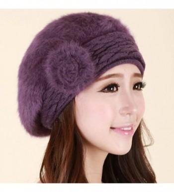 Winter Beanie Protective Angora Purple in Women's Berets