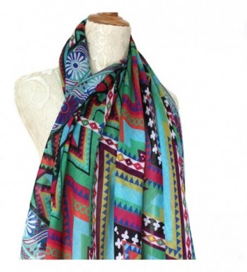 ADJOINT Women's Colorful Printed Boho Bohemian Soft Square Scarf - Multicolor 2 - CW184C9IX4D