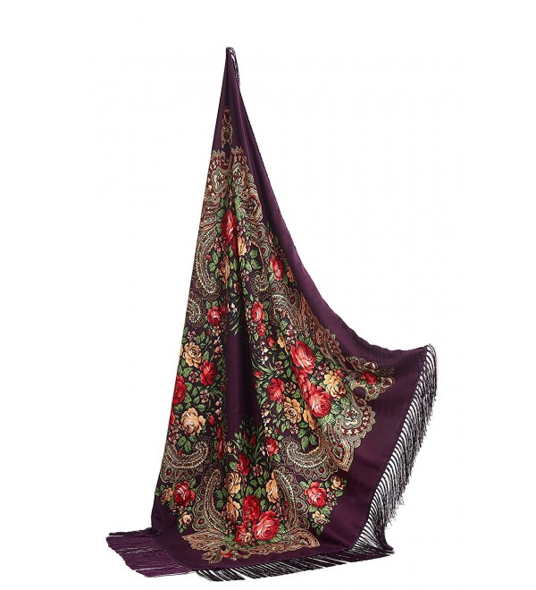 "Ladies Tassel Shawl With Flowers Ukrainian Polish Russian Square Scarf 38"" x 38"" - Grape Purple - CT17YLTLC42"