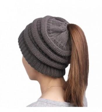 Tootu Winter Warm Soft Stretch Cable Knit Messy High Bun Ponytail Beanie Hat - I - CR1898AZEMM