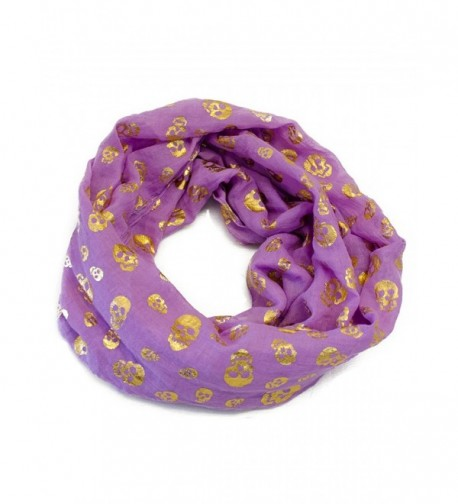 VegasHorizon Lightweight Women's Infinity Scarf with Golden Skull Print - Purple - CN11JXAGD6J