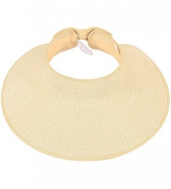 Simplicity Beach Roll-Up Beach Straw Sun Visor Hat with Bow - 283_Beige White Mix - CT11ADF92DT
