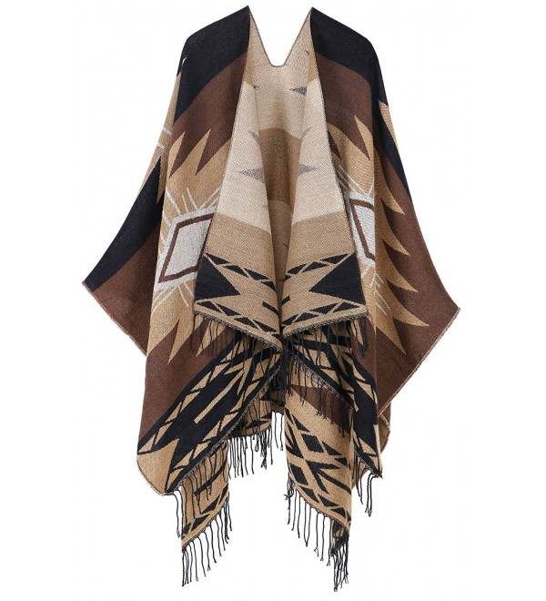 EPGM Women's Lovely Draped Fringed Open Front Abstract Pattern Cardigans Poncho Wrap - Khaki - C6188ZCO406