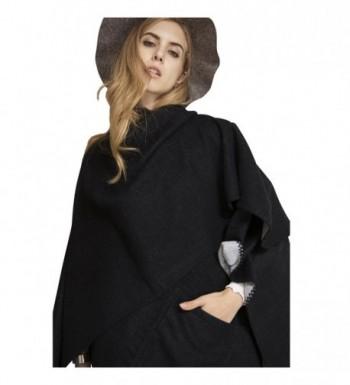 Plaid Scarf Long Scarves Blanket Warm Tartan Checked Shawl With Pocket Poncho Cape - 17005-black - CM186WE90LC