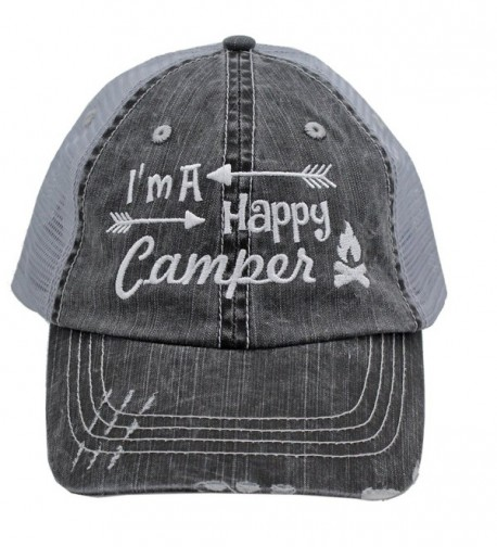 ee1a0648509 White I m am A Happy Camper Women Embroidered Trucker Style Cap Hat Rocks  any