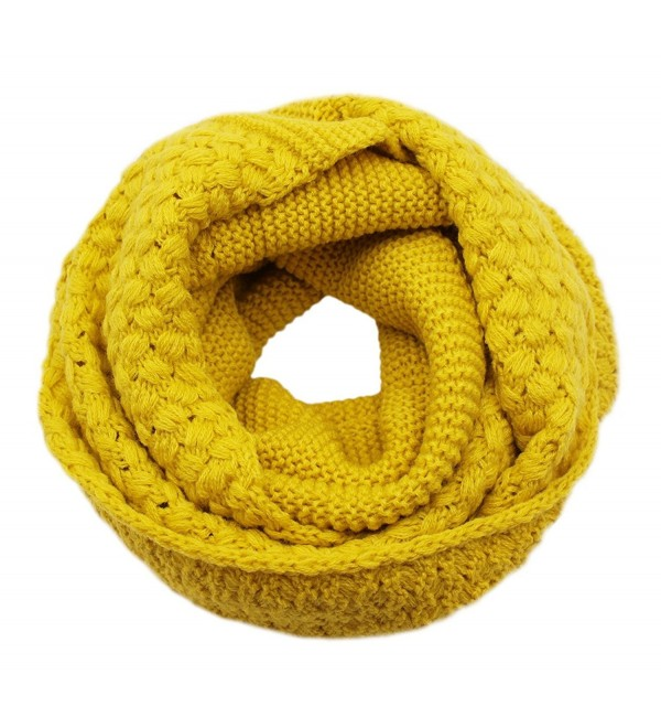 Girls Women Fashion Solid Thick Knitted Scarf Winter Warm Infinity Loop Scarf Thick Neckerchief - Yellow - CP1870R9YXE