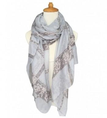 GERINLY Lightweight Shawl Wrap: Pretty Lace Stripes Print Scarves - Light Grey - CW12N1R6A58