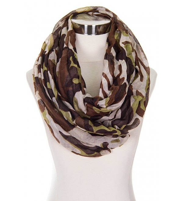 ScarvesMe Fashion Camo Camouflage Military Look Infinity Loop Scarf - Brown - C3124GBWNP5