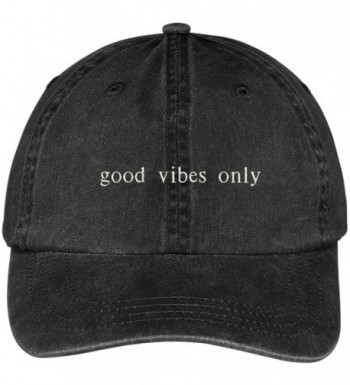 Trendy Apparel Shop Good Vibes Only Embroidered Pigment Dyed Washed Cotton Cap - Black - CA12KIK2JEX
