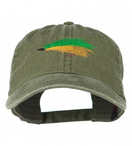 Fishing Green Fly Embroidered Washed Cap - Olive Green - CK11LJV9EZ3