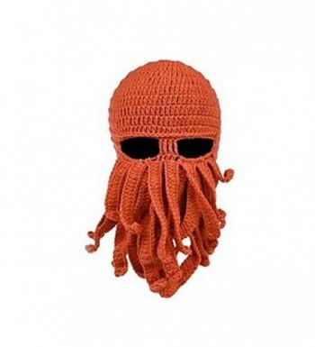 gloednApple Windproof Octopus Winter Warm Knitted Wool Beard Squid Beanie Hat Cap - Orange - CA12NE1OZR4