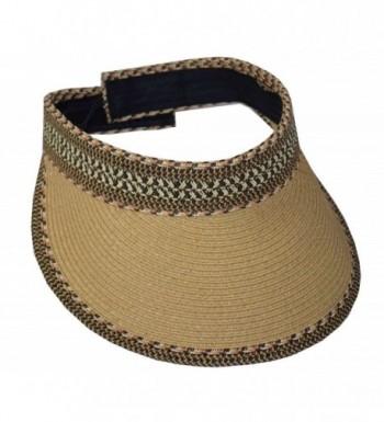 "Jeanne Simmons Women's Paper Braid 4"" Brim Velcro Visor Tan - C8125JO5JT5"