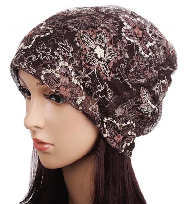 Qunson Lace Beanie Hat Cap Turban For Women - Coffee - CW124Z6GKRX