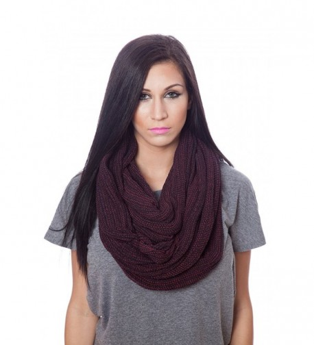 Womens 100% Cotton Super Soft Luxurious Infinity Scarf 100 Ways to Wear - Burgundy - CC12F5LF749