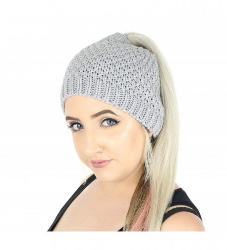 Winter Waffle Knit Ponytail Beanie Hat- Stretchy Messy Bun Knitted Skull Cap - Grey - CV186GOWG5N