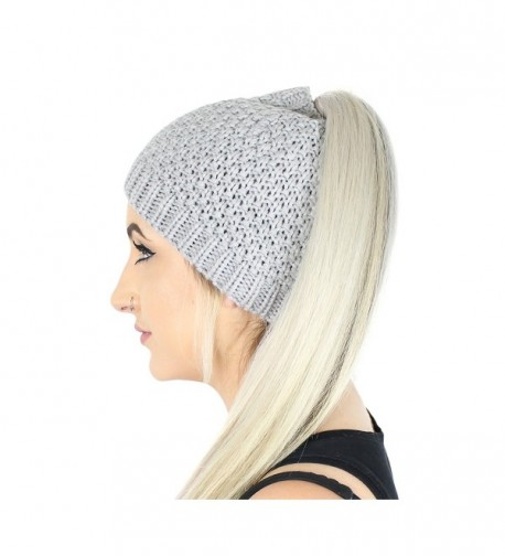 Waffle Ponytail Beanie Stretchy Knitted