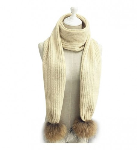 LITHER Women Winter Knitted Scarf Detachable Large Real Raccoon Fur Pom Pom - Beige - C112N4Q2LC6