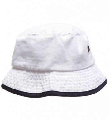 MIRMARU Summer Adventure Foldable 100% Cotton Stone-Washed Bucket Hat With Trim. - White-navy - CN183KHCRCW