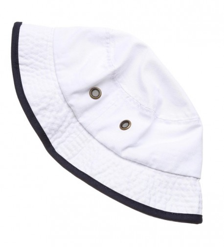 Summer Adventure Foldable Stone Washed White Navy LXL in Women's Bucket Hats