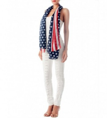 iB-iP Women's American Flag Prints Large Gorgeous Lightweight Long Fashion Scarf - Navy - CQ12JHBQWE7