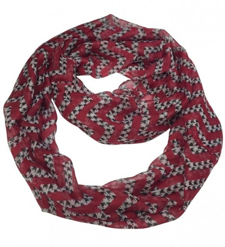 Houndstooth Lightweight Thin Poly Infinity Scarf - Roll Tide Pride - Crimson Red Chevron - CF12N1WQS2S