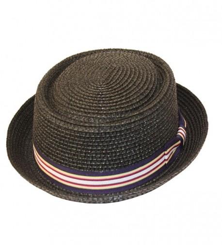 Men's Fancy Summer Straw Pork Pie Derby Fedora Upturn Brim Hat - Black - CS12FFO0P9N