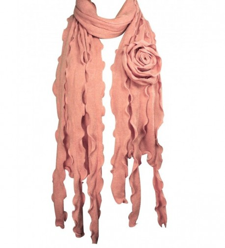 Acrylic Fashion Large Flower Ruffle Knitted Tassel Ends Long Scarf - Pink - CF1157WVINV