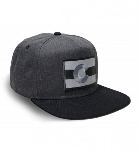 Strange Cargo Tees Colorado Flag Hat Baseball Cap Flat brim Black Grey - CU12MA53U0G