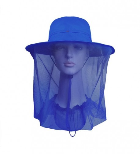 Lenikis Outdoor Sun Protection Hats With Mosquito Head Net - Blue - CV12GALFSNR
