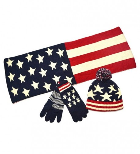 AnVei-Nao Unisex USA American Flag Winter Warm Double Knit Scarf Hats Gloves Set - CA1284CIWJN