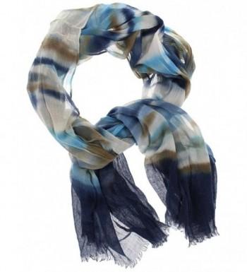 Violet & Virtue Women's Lightweight Tie-dye Long Scarf- Multi-Blue - CL17XWOXK2M