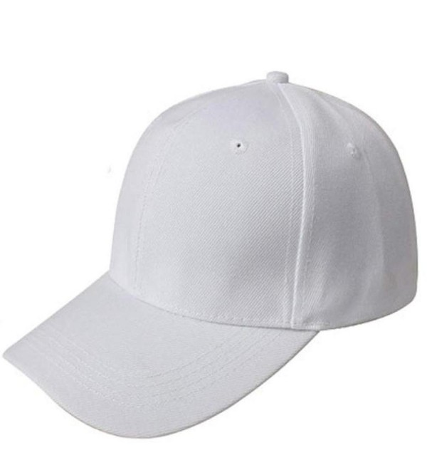 Baomabao Baseball Cap Blank Hat Solid Color Adjustable Hat - White - CA12FAIJVL1