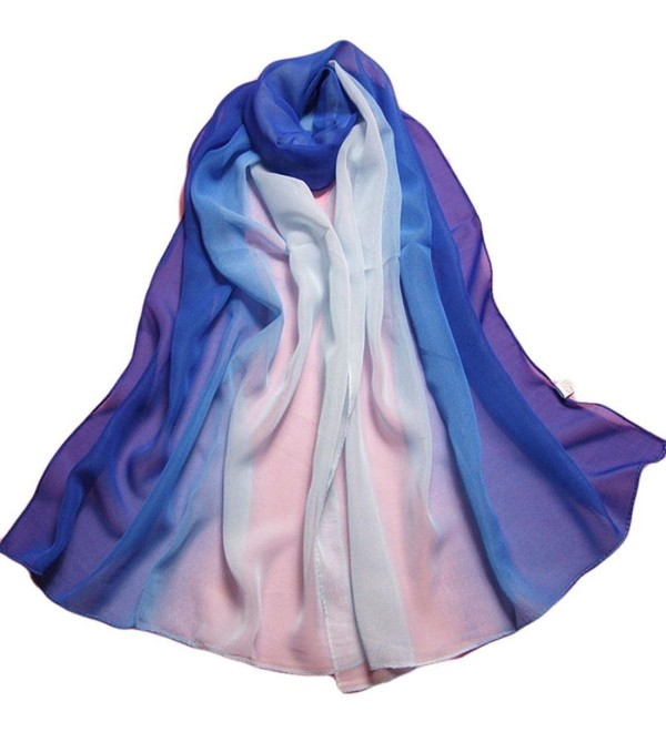 Luweki Fashion Lady Gradient Color Long Wrap Women's Shawl Chiffon Scarf Scarves - Blue - CU12N2H7ECK