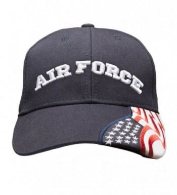 Air Force Embroidered with USA Flag Adjustable Cap 100% Cotton Basball Hat - Navy Blue - CN12N9MIJ74