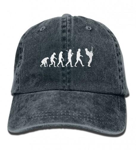 Men Women Guitar Player Evolution Funny Denim Fabric Baseball Hat Adjustable Hip-hop Cap - Navy - CQ187OSRSYN