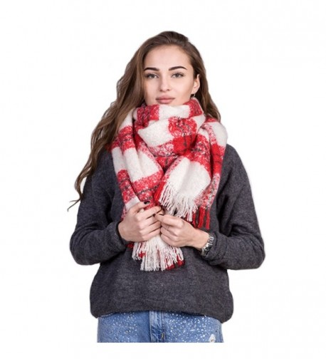 Women Vintage Plaid Scarf Shawl Blanket Oversized Scarf Wrap Winter Accessories - CU18899MM6M