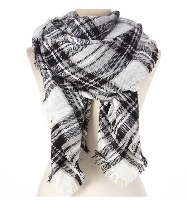"Large Blanket Scarf Shawl Black & White Plaid 54""x 56"" - CJ120Z6MP3F"