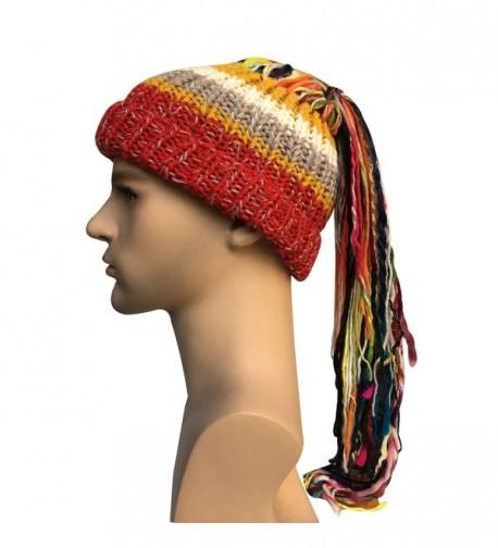 Kafeimali Men/Women Barbarian Vagabond Knit Hat Wig Ponytail Beanie Funny Caps - Red - CE1873N0R2Y