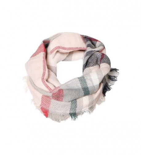 Soft Pink Tartan Infinity Scarf Funky Monkey Fashion Cozy Warm Neck Scarves - CJ188K99A2G