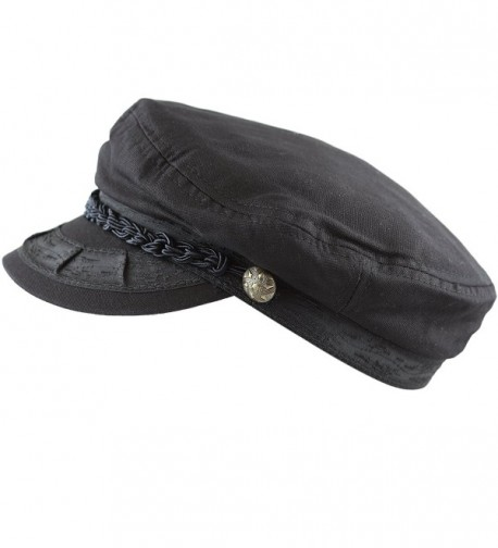 The Hat Depot Unisex Cotton Yachting Style Sailing Greek Fisherman Cap hat - Black - C017Z7EG5Q0