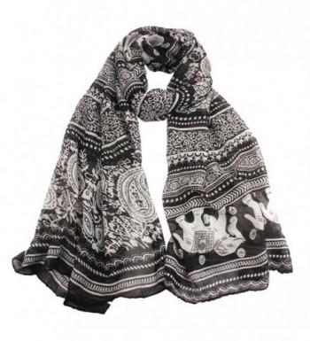 Clearance! Coromose Womens Elephant Print Long Scarf Shawl Wrap Pashmina - Black - C511P3YLKW7