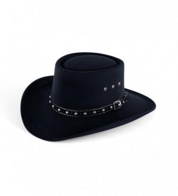 Western Faux Felt Gambler Cowboy Hat - Black - CI17YEXYNKH