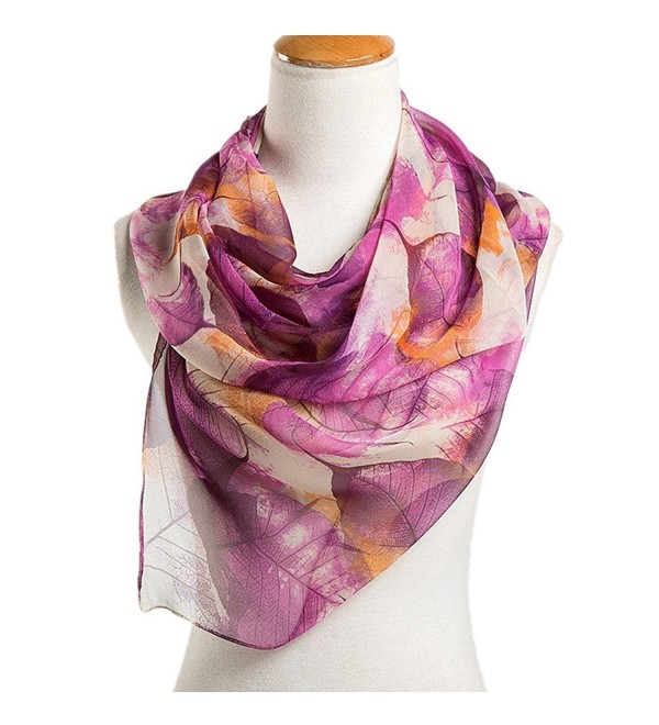 Nightycatty Leaf Print Scarves Chiffon Sunscreen Shawl Beach Wrap - Purple - CJ183M30NCQ