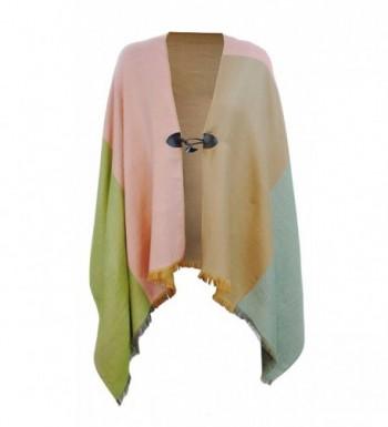 Pashmina Wrap Soft Silky Shawl Scarf for Women w/ Clasp - Pink- Tan- Olive - C9188UL0XHK
