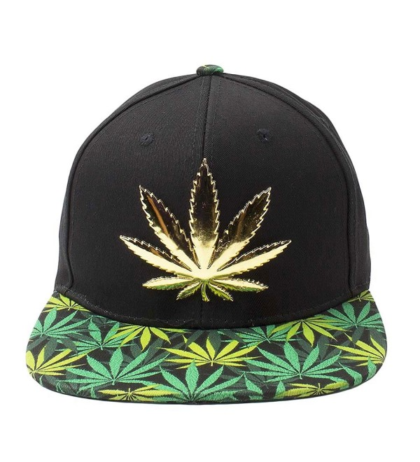 Cap2shoes Marijuana Weed Leaf Cannabis Snapback Hat Cap - Metal Black/Green - CJ129AYMBLD