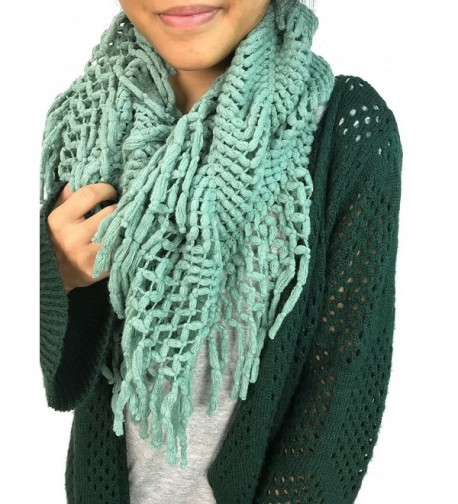 Women's Knit Infinity Crochet Zig Zag Fringed Lattice Tassel Scarves NSF2094 - Mint - CP12OBL016B