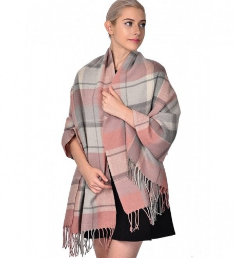 ADVANOVA Ideal Gift for Women Cashmere Feel Large Blanket Scarf Spring Evening Wrap - Pink Plaid (Gift Box) - CC186D59SE0