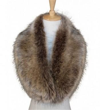 Womens Faux Fur Collar Scarf Warm Shawl Cherioll Fur Wedding Bride Shawl - Brown - CF11PDH8OGJ