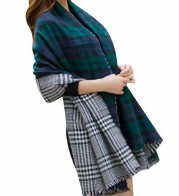 BeAllure Checked Blanket TrimsWomens Reversible - Green - CJ12MA97EFY