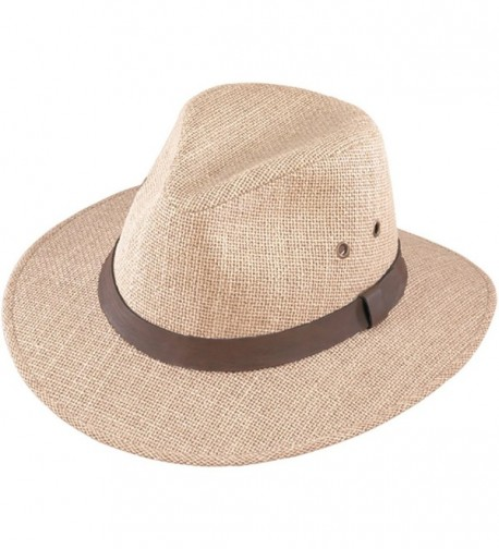 Henschel Men's Burlap With Genuine Leather Band Outback Hat - Natural - CA12GXQGZVJ